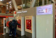 NSB bilettautomat på Oslo lufthavn Gardermoen